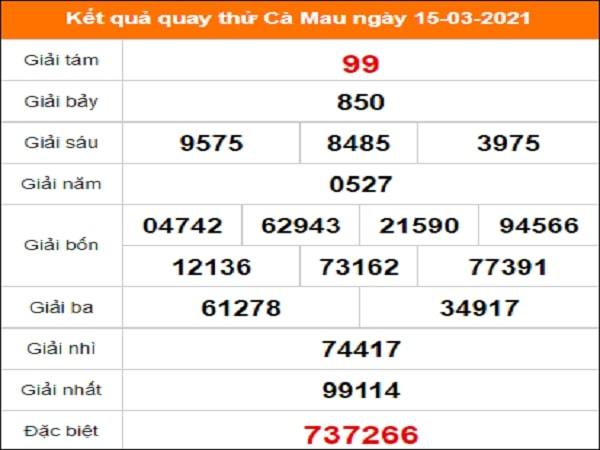 Quay thử xổ số Cà Mau ngày 15/3/2021