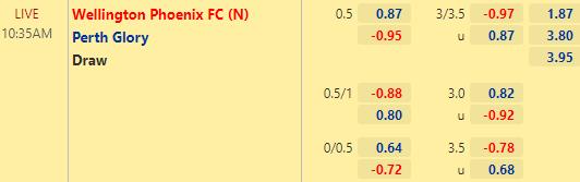 Tỷ lệ kèo bóng đá giữa Wellington vs Perth Glory